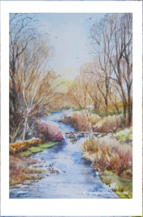 Malham stream watercolour