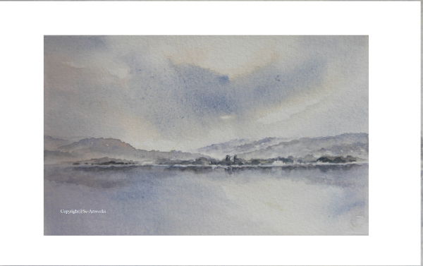 Misty Windermere watercolour