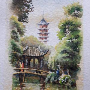 Chinese Garden watercolour