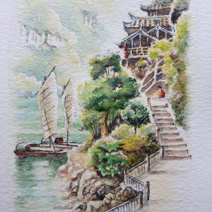 Three Gorges watercolour